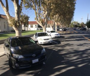Reverse-angle parking was striped by the City of Hollister in front of San Benito High School on Friday, Oct. 12. Photo by Adam Breen.