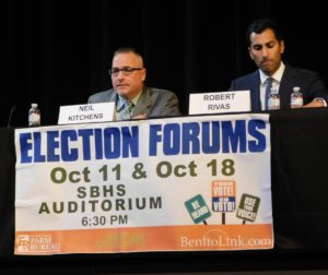 Neil Kitchens and Robert Rivas at the Oct. 18, 2018 election forum hosted by BenitoLink, San Benito County Farm Bureau and Youth Alliance. Photo by Blaire Strohn.
