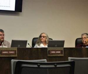 Carol Lenoir (center) during a Planning Commission meeting on May 27. Photo by John Chadwell.