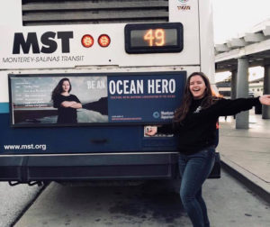 San Benito High School senior Shelby O'Neil is featured on Monterey-Salinas Transit buses for being one of the Monterey Bay Aquarium's Ocean Heroes. Photo courtesy of O'Neil.