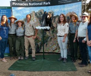 Dolly with staff of LA Zoo, Pinnacles National Park Foundation and Pinnacles National Park condor crew. Photo by Carmel de Bertaut.