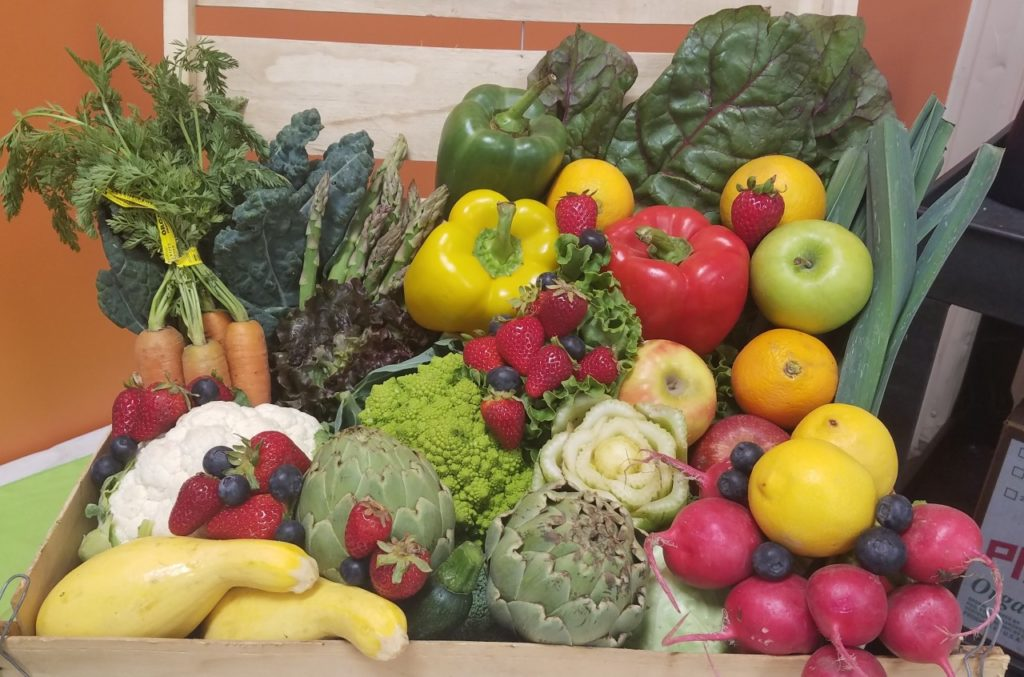 A box of fresh produce ready to go at Community FoodBank of San Benito. Photo by Mark Paxton.