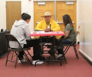 Local veteran Armando Salcedo (center) during his interview at SBHS last Spring. Photo courtesy of Veteran Voices Project.