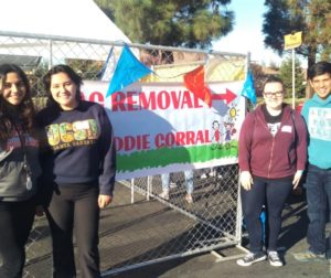 Students from San Benito High School such as (starting far left) Maya Villegas, Johana Manzo, Alissa Tortorelli, and Emliano Gallegos Ramirez volunteered at Saturday's event. Photo by Becky Bonner.