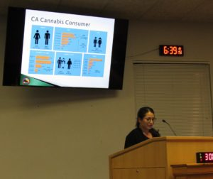 County management analyst Dulce Alonso was among three presenters to the San Benito County Planning Commission. Photo by Noe Magaña.