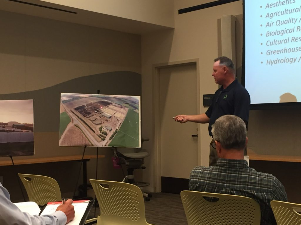 Z-Best Operations Manager John Doyle leads a presentation on the proposed facility expansion project at an Oct. 30 meeting at Gilroy Library. Photo by BenitoLink Staff.