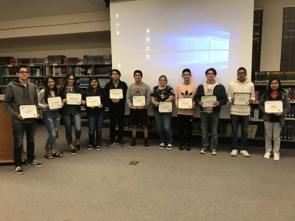 The San Benito High School Board of Trustees on Nov. 13 recognized 72 Advanced Placement Scholars, including the following students who scored 3 or higher on three or more AP exams: (From L to R) Jose Velarde Ruiz, Allison Okamoto, Amanda Navarro, Melissa Abonce, Ricardo Arteaga, Jack Barajas, Bailey Carmichael, Vanson Chan, Trent Hurtado, Alan Juarez, and Dennys Lopez Vega. Photos by Adam Breen.