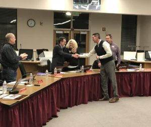 San Benito High School District Superintendent Dr. Shawn Tennenbaum congratulates William Tiffany, left, for his 16 years of service on the Board of Trustees. Photo provided.