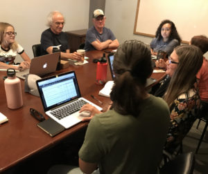 BenitoLink reporters meet weekly with Content Manager Nick Preciado and Copy Editor Paul Hersch to discuss the news of the week and progress on individual projects. Staff photo.