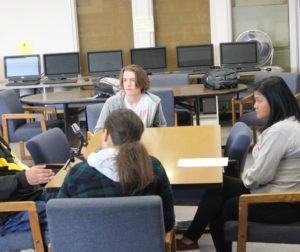 SBHS students interviewing Ramos last Spring. Photo courtesy of Veteran Voices Project.