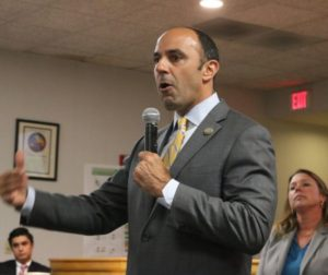 Congressman Jimmy Panetta speaking at a community forum in 2017. Photo by John Chadwell.