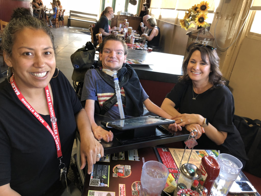 Leia Bernabe, Johnny's one on one aide (left), John Schilling (center), and his nurse Veronica Guerra (right). Veronica was with him for many years, and is a close family friend. Photos and captions provided by Casandra Guerrero, SBHS Special Education Specialist.