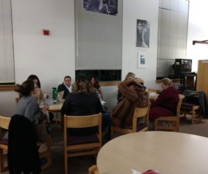 Small group breakout session at the Jan. 10 meeting of the Aromas-San Juan Unified School District Board of Trustees. Photo Carmel de Bertaut.