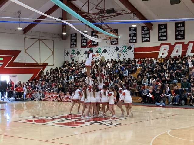 Cheer shows their Baler Pride at the rally. Photo by Malia Chang.