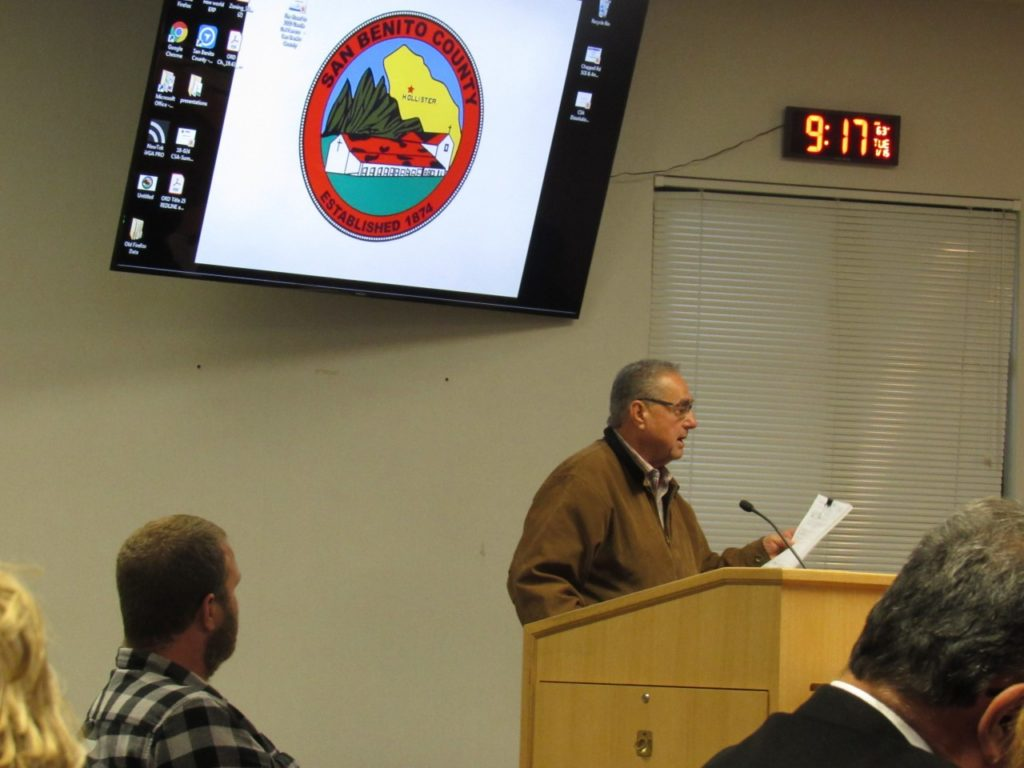 Richard Ferreira addresses the San Benito County Board of Supervisors during public comment at the Jan. 15 meeting. Photo by Noe Magaña.