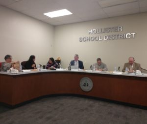Hollister School District Board of Trustees at the Jan. 22 meeting. Photo by Carmel de Bertaut.