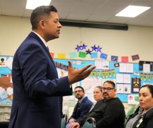 Hollister School District Superintendent candidate Diego Ochoa speaks at a Jan. 7, 2019 meet and greet at HSD facilities. Photo by John Chadwell.