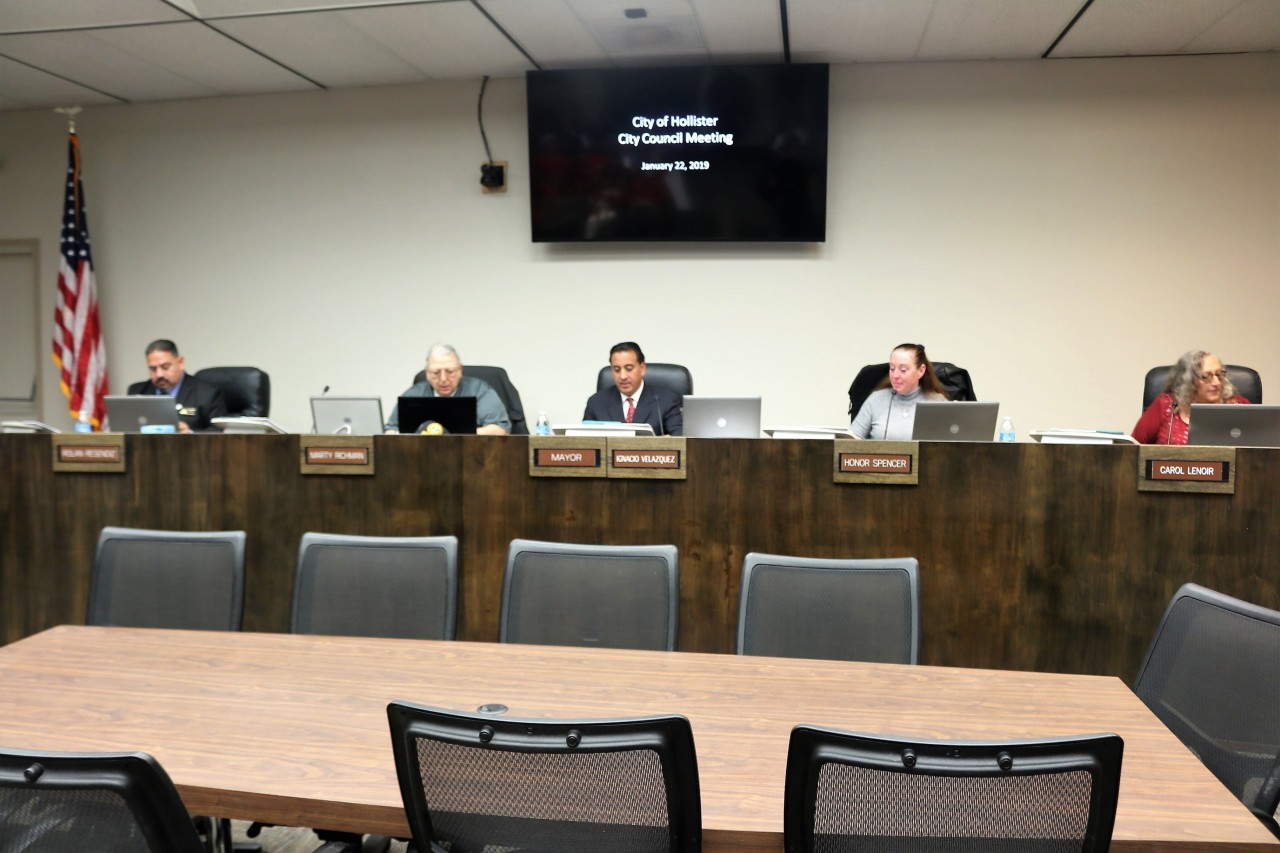 The discussion of parking spaces at the Briggs Building went on for an hour at the Jan. 22 Hollister City Council meeting. Photo by John Chadwell.
