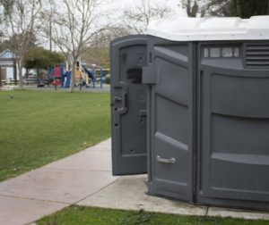 Current restrooms at Verutti Park in San Juan Bautista. Photo by Noe Magaña.