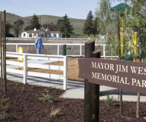 Former city councilman Tony Boch tours the Mayor Jim West Memorial Park before the dedication. Photo by Noe Magaña.