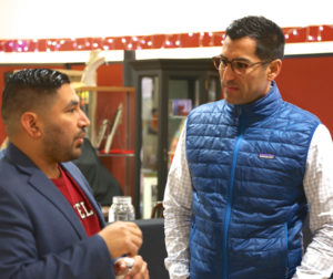 Assemblyman Robert Rivas (right) at a Jan. 2019 art exhibit in Gilroy. Photo by Leslie David.