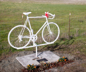 Jon Kaplan's Ghost Bike on Highway 25. Photo provided by Almaden Cycle Touring Club.