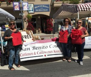 San Benito Cattlewomen successfully handed out 600 bags at the Hollister Farmer's Market in 2018. Photo provided.
