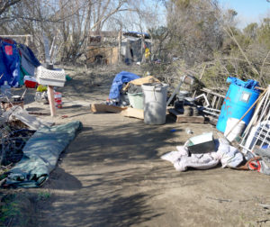 Homeless encampment in San Benito County. File photo.
