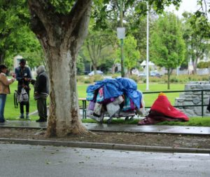 Homeless at Dunne Park in Hollister. Photo by John Chadwell.