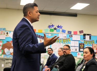 """HSD Superintendent Diego Ochoa speaking at a Jan. 7 meet and greet at HSD facilities. In regards to the independent investigation into special ed, Ochoa said """"Our Dr. Shepherd has brought to light many important issues; among them, the need to adhere to services offered in all IEPs, the need to fully staff our special education department, the need to provide high quality special education training, and the need to work effectively with parents."""