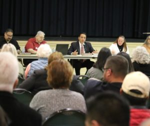 The Hollister City Council at the Jan. 30 town hall meeting. Photo by John Chadwell.