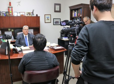 Seoul Broadcasting System news team interviewing Sang Ji's defense attorney Gregory LaForge for an hour-long documentary expected to air in South Korea and Los Angeles in March. Photo by John Chadwell.