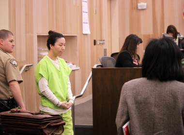 Jung Choi followed Ji into the courtroom. Photo by John Chadwell.
