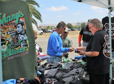 Brian Holt (right) promotes motorcycle rallies across the country and is working with local businesses to bring the Rebel Rally to Hollister. Photo by John Chadwell.