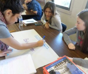 San Benito High School government students create a poster in class. Photo courtesy of SBHS.