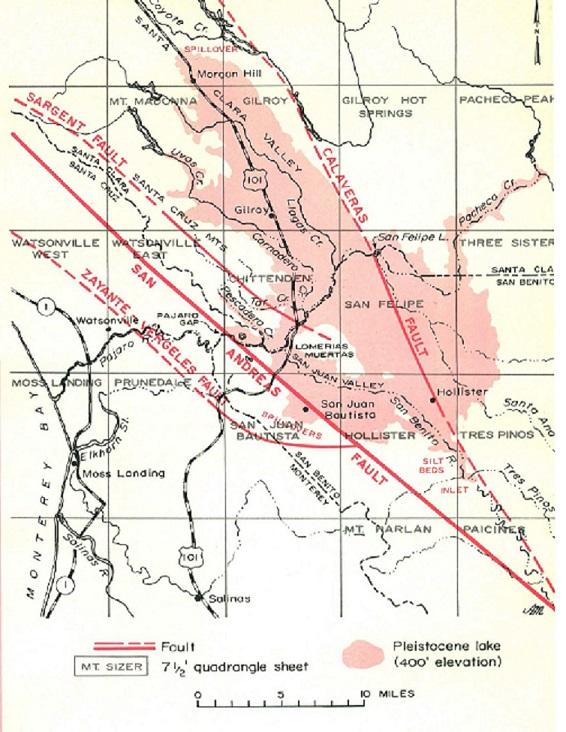 Jenkins' map of Lake San Benito. From California Geology, July 1973.