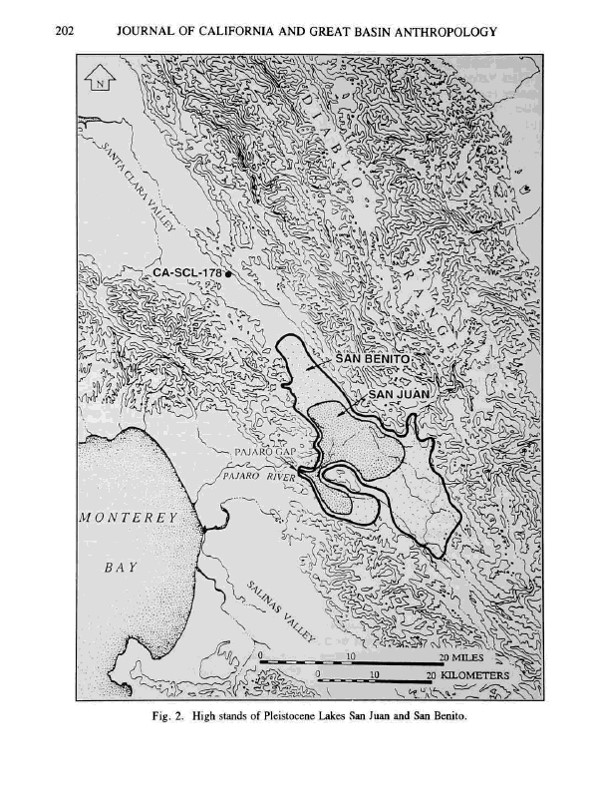 This map by Jenkins shows the extent of both lakes in the Pleistocene. From the Journal of California and Great Basin Anthropology.