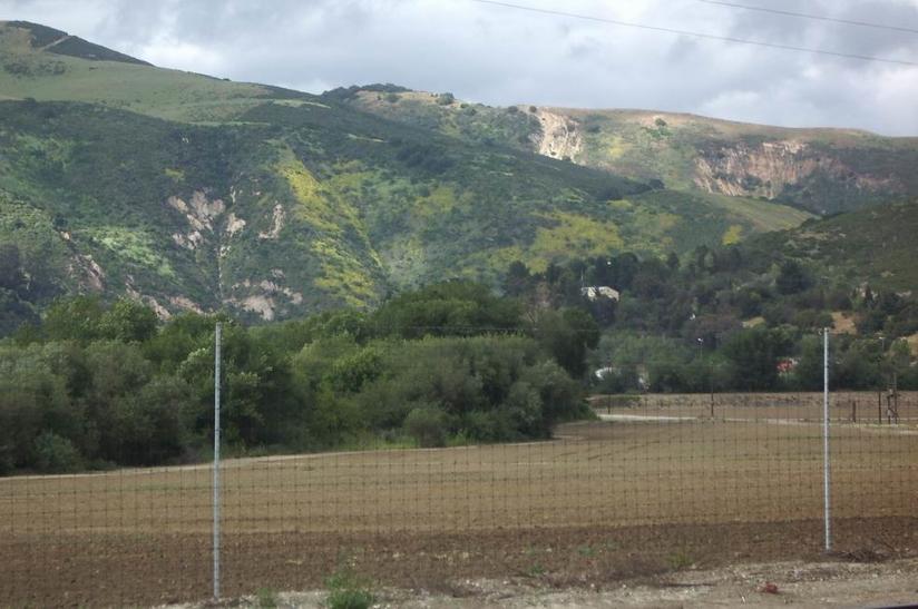 Landslide scars near today's Pajaro Gap. Photo by Jim Ostdick.