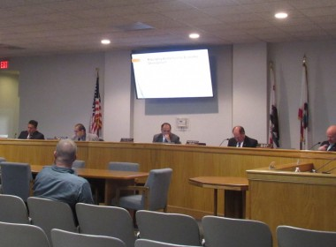 The San Benito County Board of Supervisors listening to the EDC presentation. Photo by Noe Magaña.