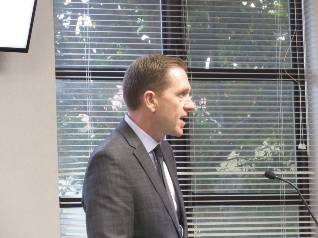 Economic Development Corporation Chairman Eric Johnson gave a presentation of a five-year plan to the San Benito County Board of Supervisors at the March 5 meeting. Photo by Noe Magaña.