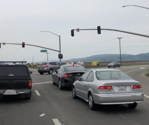 The intersection of State Routes 25 and 156. Construction of a two-lane roundabout is anticipated to begin in June 2021. Photo by Noe Magaña.