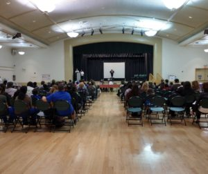 The crowd at the Veterans Memorial Building on March 2 during a self-awareness, safety and anti-bullying event organized by SBHS student Samantha Slykas. Photo by Carmel de Bertaut.