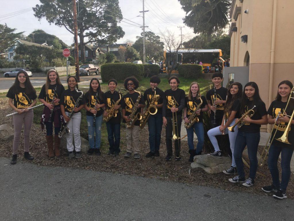 Hollister CCS Regional Band Members Lesley Prudencio (MMM), Megan Maggiora (MMM, Leeza Gatsonz (AAA), Isabella Velazquez (HDLA), Ignacio Velazquez (HDLA), Brandon Gatsonz (AAA), Danaka Perez (MMM), Tristan Molina (RSJ), Sarah Stopper (RSJ), Dylan Freitas (RSJ), Lauren Agredano (RSJ), Yuvia Padilla (RSJ), and Samatha Andrijeski (RSJ). Not pictured David Gomez (MMM). Photo by Kevin Stopper.