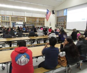Parents and students at the first of three workshops related to mental health. The March 7 workshop was hosted by the San Benito High School and Hollister School District Migrant Education programs. Photo by Noe Magaña.