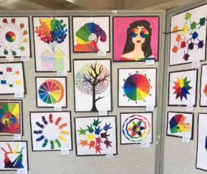 Paintings done by Ms. Toste's Art One students. Photos by Diana Lopez.