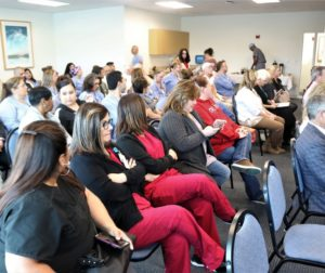 Many of those attending the March 28 Hazel Hawkins Hospital Board of Directors meeting voiced their approval of the current anesthesia group, as well as concern about accusations against anesthesiologist and outspoken board member Ariel Hurtado. Photo by John Chadwell.