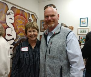 Artist and San Benito Arts Council Board President Louise Ray and Supervisor Jim Gillio at the kickoff party for the 2019 Open Studio Art Tour on March 22, hosted by the San Benito Arts Council. Photo by Carmel de Bertaut.