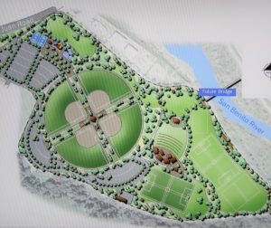 The entire proposed concept design for Brigantino Park from a presentation by Kimley-Horn design engineers. Photo by John Chadwell.