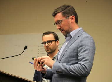 Landscape architect Matthew Morgan (left) and project manager Michael Madsen explained the elements of the park design during the April 1 Hollister City Council meeting. Photo by John Chadwell.