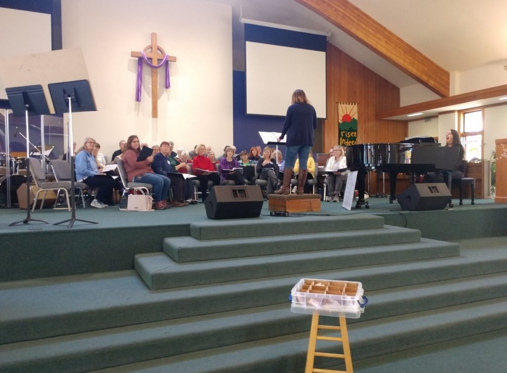 The San Benito Oriana Chorale practicing for two upcoming Bach to Rock concerts in May. Photo by Carmel de Bertaut.